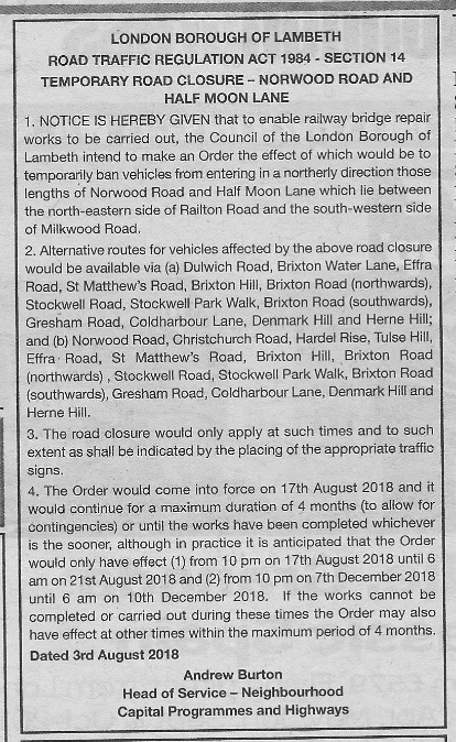 HH Road Closure Notice